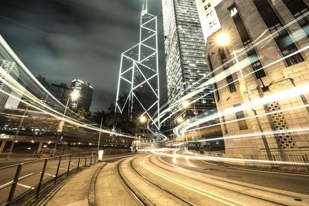 district: traffic in Hong Kong at night