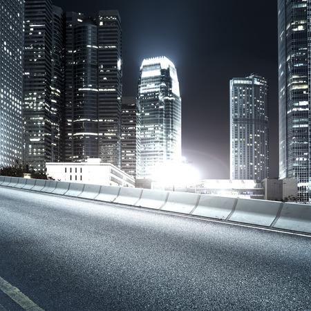 city night: Highway and city at night Stock Photo