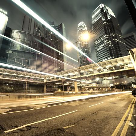 town centre: traffic in Hong Kong at night