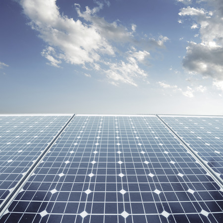 sun roof: photovoltaic cells and sunlight background