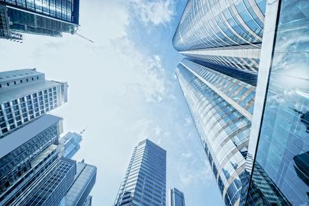 modern buildings: modern business center in hongkong Stock Photo