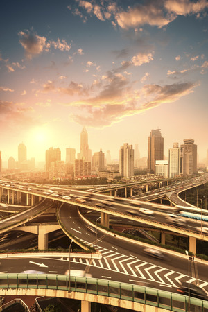 ch: aerial view of the city overpass in early morning,shanghai,Ch ina Stock Photo