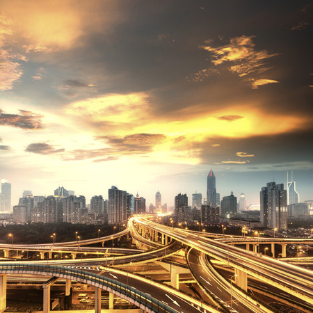 beautiful city interchange overpass at nightfall in shanghai