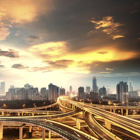 shanghai: beautiful city interchange overpass at nightfall in shanghai