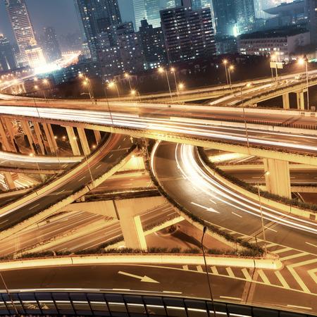 overpass: beautiful city interchange overpass at nightfall in shanghai