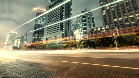 urban road: Shanghai Lujiazui Finance and Trade Zone of the modern city night background