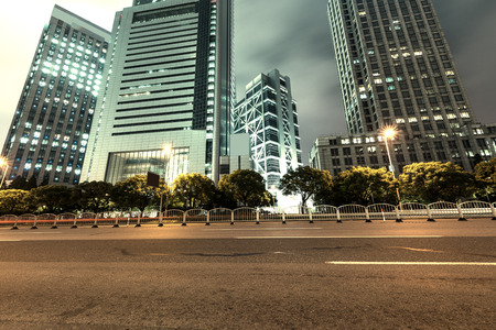 highway: Shanghai Lujiazui Finance and Trade Zone of the modern city night background
