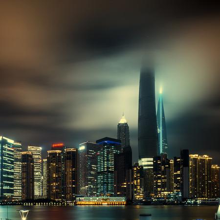 shanghai skyline: shanghai skyline at night Stock Photo