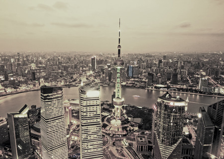 highroad: Birds eye view of Shanghai Pudong at night Stock Photo