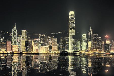 city scene: Hong Kong skyline at night