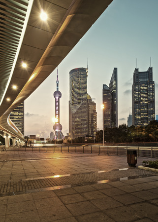 shanghai night: The modern city landscape in the middle of the night Stock Photo