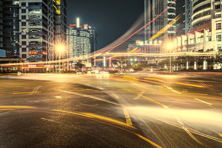 busy city: cars in highway with blur motion