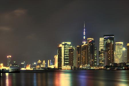 shanghai skyline: shanghai skyline at night Editorial