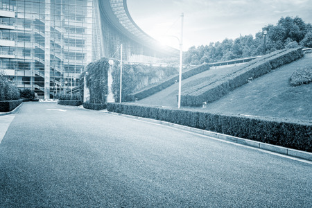 emerging economy: Road and office building in shanghai
