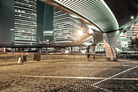The modern city landscape in the middle of the night Stock Photo