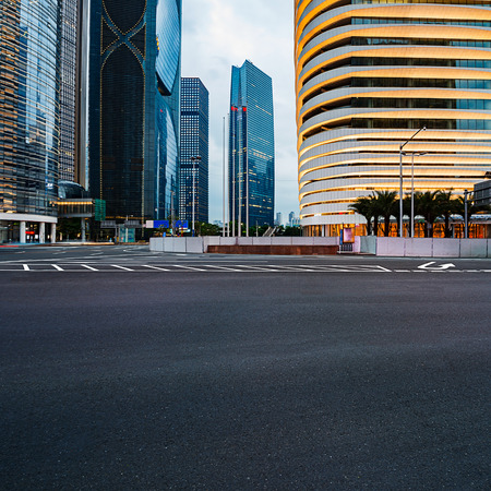 schlagbaum: The road in the city of shenzhen,china