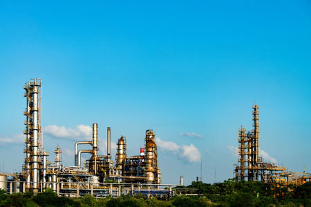 petrolium: Petrochemical plant with blue sky Stock Photo