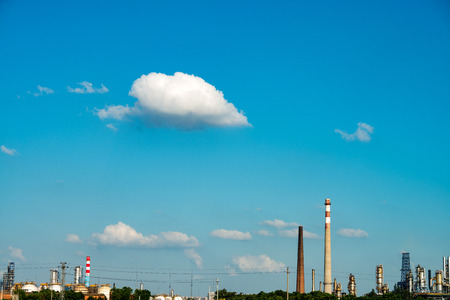 petrochemical plant: Petrochemical plant with blue sky Stock Photo