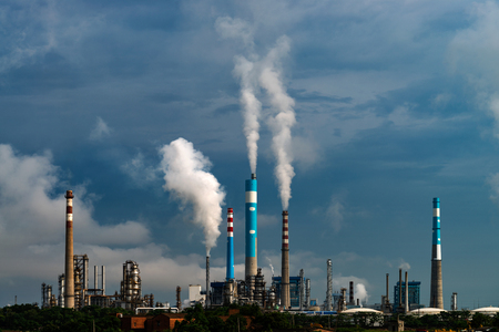 A chimney chemical plant in the discharge of pollutants