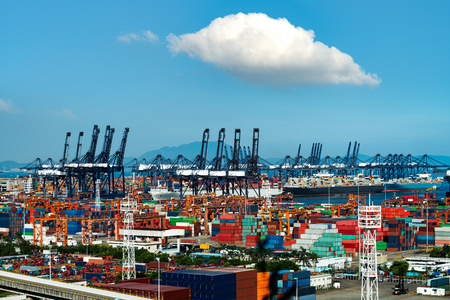 Container freight terminal and the blue sky background