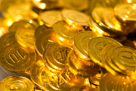 Group of gold coins business money