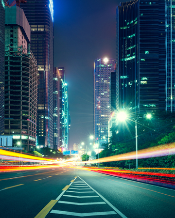 the traffic light trails of city Editorial
