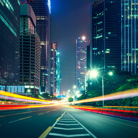 the traffic light trails of city Stock Photo