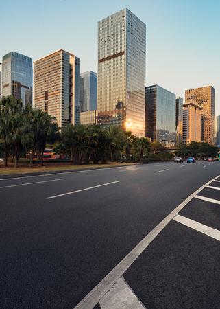Asphalt pavement urban road at city