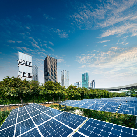 Solar panels in the city Stock Photo