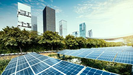 Solar panels in the city Stockfoto