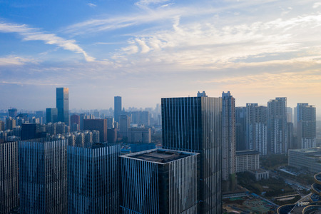 A bird 's-eye view of a modern city in China