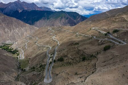 Winding road  aerial view, Tibet, China