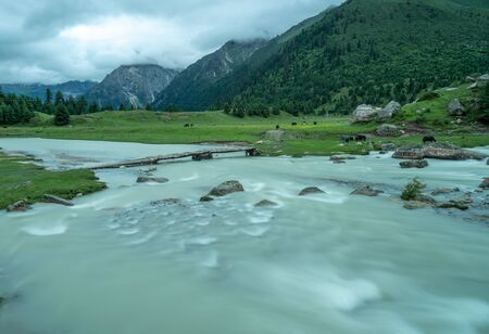 Wide river tributaries in the beautiful valley in Central Tibet, China