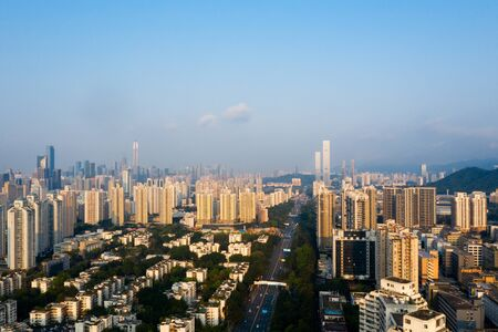 A drone aerial view of the city 免版税图像