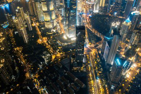 Aerial view of Shanghai at dusk, China