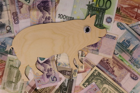 Symbol 2019 pig walks on banknotes of differend countries. Wealth and profit.