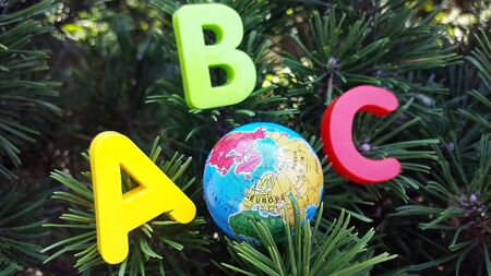 Colored ABC-the first letters of the English alphabet and small toy globe are located on the branches of spruce