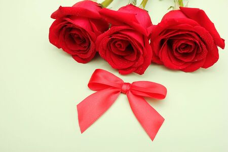 Three red roses with water drops on them and a red bow next to it. Happy Mothers Day. Valentines day holiday.