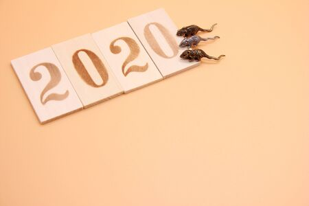 Number 2020 lined with wooden figures and three little metal mice on it. Symbol of the new year 2020 on the Chinese calendar. Copy space. Stok Fotoğraf - 133454013