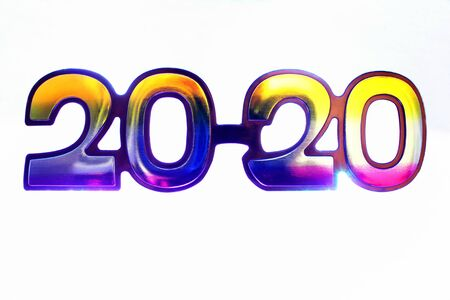 2020 shiny colored numbers isolated on white background. Happy New year to 2020. Stok Fotoğraf