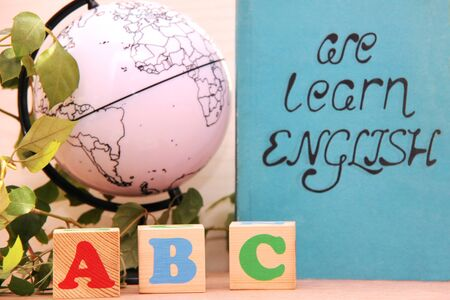 Wooden blocks with the letters A, B, C next to a globe and a houseplant. the concept of learning English. English for beginners.