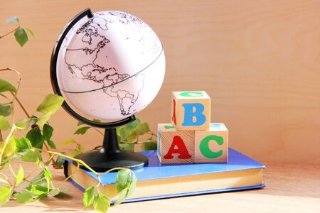 Wooden blocks with the letters A, B, C on a book next to a globe and a houseplant. the concept of learning English. English for beginners.