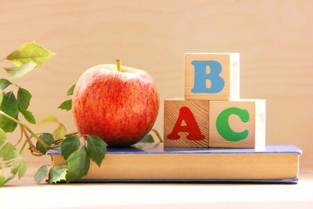 Wooden blocks with the letters A, B, C on the book next to an Apple and a houseplant. the concept of learning English.