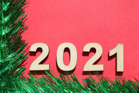 Christmas card with 2021 new years number. Stok Fotoğraf