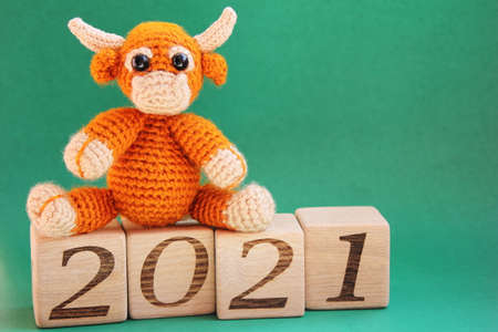 The bull is a symbol of the New year 2021. A toy knitted bull is located the wooden blocks with the numbers 2021 on them on a green background.