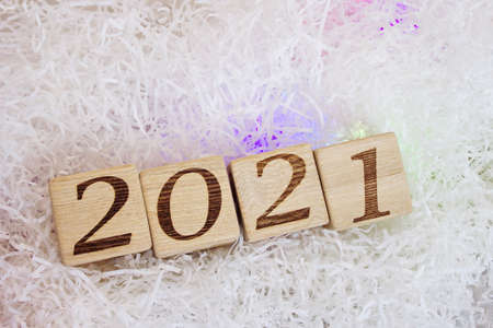 2021 new year's number on wooden blocks close-up. Happy New Year. Stok Fotoğraf