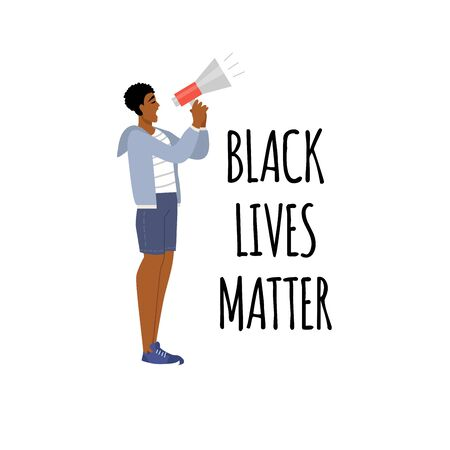 Concept on the theme of racism. Stop racism. The image of a guy, equality. Black lives matter. Vector stock illustration. Isolated on a white background.