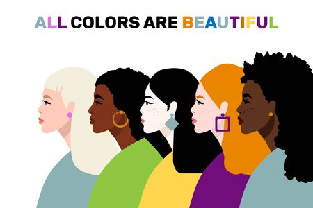 Stop racism. Black lives matter, we are equal. No racism concept. Flat style. Women. Different skin colors. Vector illustration. Isolated. 矢量图像
