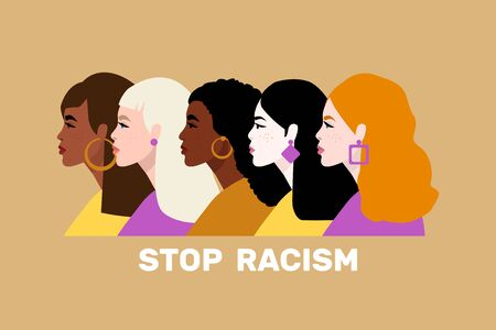 Stop racism. Black lives matter. We are equal. No racism concept. Flat style.Vector illustration.
