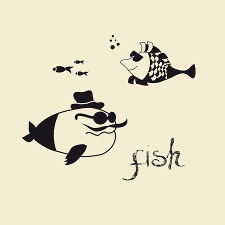 Lovely graphics fish. Black-and-white cartoon.